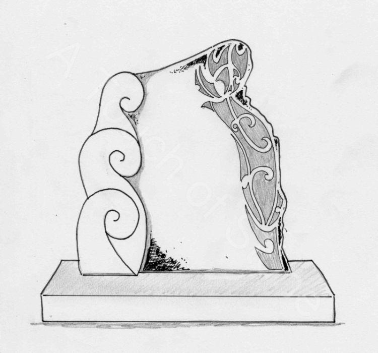 Headstone Triple Koru